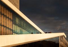 (Svein Skjåk Nordrum) Tags: roof sunset sky color building lines oslo wall architecture facade dark twilight opera exterior bright dusk vivid photographing snøhetta oslooperahouse