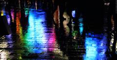 Urban Nightclub (peterphotographic) Tags: city uk blue light england urban reflection london wet rain night canon dark cityscape britain nightclub leicestersquare camerabag2 canong15 img2451cb2film1aedwm
