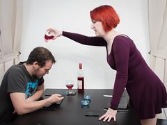 Socialising (Carrera Photography) Tags: selfportrait dinner phone wine antisocial dedpxl07