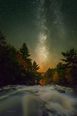 Muskoka Night Sky (Henry w. L) Tags: nightphotography autumn ontario canada landscape fallcolors waterfalls muskoka milkyway