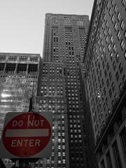 Do not enter (sebastianbayer) Tags: city nyc newyorkcity urban bw sign skyscraper dark concrete streetsign stop gotham urbanjungle donotenter concretejungle forbidding