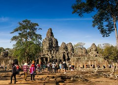 Angkor Wat Temple, Cambodia (EHaliM) Tags: park travel blue sky travelling statue rock canon temple rocks cambodia angkorwat angkor tamron archaeological