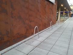 20141201_161631 (justsmartdesign) Tags: road seattle street urban uw bicycle wall panel steel sidewalk rack infrastructure universityofwashington perforated corten campusparkway