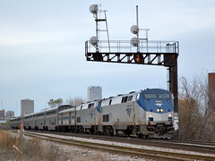 Passing under history (Robby Gragg) Tags: amtrak milwaukee p40 837
