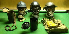 WW1 French, German, British, Steel Helmet & Gas Mask (Stuart Curry) Tags: french tin mask brodie helmet gas german weapon oil british adrian ww1 filters protection relics chemical impermeable respirator stahlhelm rubberised lacqueredseams celluloideyepieces chrometannedsheepskin