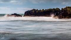 Dunure (GenerationX) Tags: longexposure blue sea sky white storm beach water birds clouds scotland rocks waves unitedkingdom wildlife horizon scottish neil spray foam ayr barr seabirds muted ayrshire dunure