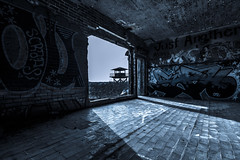 The Watch Tower (GnarlyRelics) Tags: shadow urban usa plant tower art abandoned lines night gr