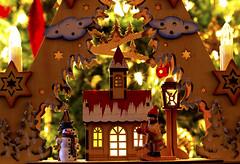 Christmas Scene (Bosca Fotograf) Tags: christmas wood trees winter house snow macro art canon festive stars photography lights wooden snowman long exposure models decoration craft scene