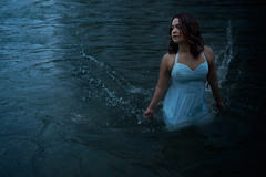 Untroubled Waters (ohnettie) Tags: ocean blue sea portrait woman lake water girl night swim river dark photography waves alone dress fineart ripples splash conceptual conceptualphotography