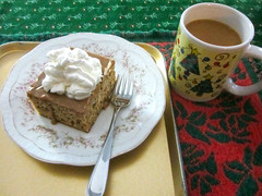 Day 350 - eat and drink coffee (Mark.Swanson) Tags: christmas cup coffee cake fork whippedcream mug bananacake