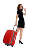 iStock_000007634691Small (conoro_brien) Tags: travel red black beautiful beauty smiling tattoo female walking happy shoe women skirt business suit handshake goodbye youngadult suitcase pulling businesstravel businessperson humanleg