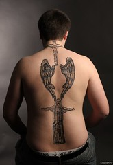 Body painting / Tattoo makeup (GQ Gallery) Tags: bear shirtless man make tattoo angel cub wings model tribal topless bodypainting chunky stocky egytpian