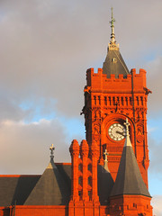 Winter Terracotta (Dave Roberts3) Tags: winter red building tower clock wales clouds shadows dragon gothic cardiff gargoyle glamorgan cardiffbay pierhead citrit