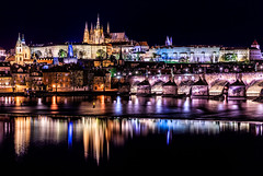 The Colors of Prague (One_Penny) Tags: city travel bridge urban color reflection castle architecture night river photography lights town cityscape colours waterfront nightshot prague prag praha tschechien czechrepublic charlesbridge vltava karlvmost moldau karlsbrcke canon6d