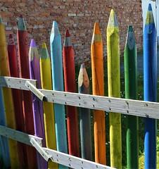 color your life (micky the pixel) Tags: art fence germany deutschland kunst urbanart crayon zaun rheinlandpfalz zweibrücken buntstift
