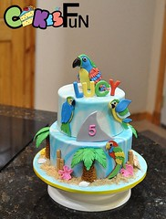 Parrot Head Cake (bsheridan1959) Tags: ocean beach cake palmtrees birthdaycake tropical parrots fondant tiered sharkfin 2tiers marbledfondant ediblesand