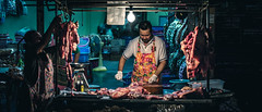Bangkokian Butcher (d.ude) Tags: street light shadow urban cinema colors night movie thailand 50mm nikon bangkok atmosphere butcher anamorphic