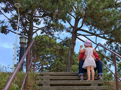 in brother's arms (petit_joe) Tags: stair sister brother complicity arcachon