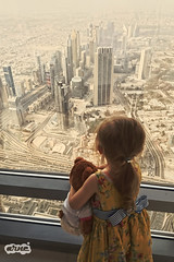 It's A Small World... (Arne Dielis) Tags: bear city travel sunset sky urban brown tower girl skyline architecture dubai child view desert sony unitedarabemirates atthetop xperia burjkhalifa 148thfloor xperiaz5 e6653