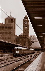 Red Rattler Set F1 at Central Station (Photography Perspectiv) Tags: railroad red heritage station train vintage transport central sydney railway f1 clocktower emu passenger sets hets rattler redlady sydneytrains redrattler fset sydneyelectrictrainsociety historicelectrictractionsociety