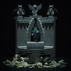 the witch king rises... (legophthalmos) Tags: grave skeleton death king lego witch ghost tomb gargoyle lotr crypt nazgul angmar