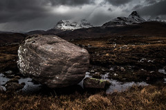 Stormy Pollaidh and an Eratic full (amcgdesigns) Tags: snow clouds dark boulder drama hdr stacpollaidh assynt culmor canon1022mm druimbadaghaill cloudsstormssunsetssunrises andrewmcgavin eos7dmk2 andrewmcgavin