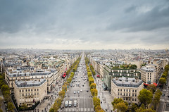 View on Paris from Arc de Triomphe. Avenue Champs elysees in front. (Luz Rosa Photography) Tags: europe thoroughfare avenue building capital center champs city cityscape destination eiffel elysees france house montparnasse paris parisian sky street sunny tourism tower town travel tree urban