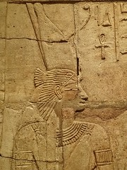 Closeup of relief on the Shrine of the 25th dynasty pharaoh and Kushite King Taharqa  Egypt 7th century BCE (3) (mharrsch) Tags: architecture temple worship shrine unitedkingdom religion goddess egypt queen oxford 7thcenturybce myth basrelief ashmoleanmuseum taharqa lateperiod 25thdynasty mharrsch