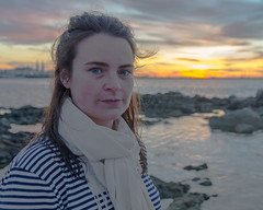 Claire - Stranger 28 - DSC_0271-2 (John Hickey - fotosbyjohnh) Tags: ireland sunset portrait sky dublin woman lady female seaside sandycove fortyfoot 2016 july2016