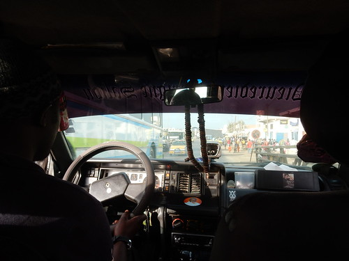 Inside taxi