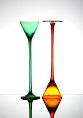 Tall (Karen_Chappell) Tags: 2 two stilllife orange white reflection green glass glasses