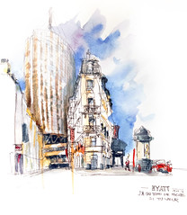 HYATT - «j'ai un fond de poche si tu veux» Porte Maillot_Paris (velt.mathieu) Tags: city paris architecture watercolor sketch mathieu velt urbansketchers