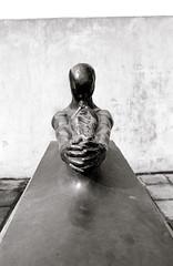 Earth, Einar Jonsson, 1904, Reykjavik, Iceland (cjbj) Tags: blackandwhite sculpture film metal iceland hands nikon fuji arm reykjavik rodinal fm2 acros