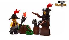 Prepping for Battle (BrickWarriors - Ryan) Tags: brickwarriors custom lego minifigure pirate colonial flintlock musket tricorn bicorn coat fort cutlass torch