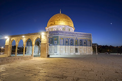 Dome of the Rock and the day after sunset crescent in the sky (iMagdes) Tags: palestinian muhammad sacred offamousplace night crescent moon twilight nightblue palestine view conflict middle mound spirituality cupola israel quds historic quarter looking media event haram praying city gold islam panoramic temple feature world scenic allah rock religion historical old town jerusalem current west dome building issue east mosque authority muslim sharif pilgrimagesite hebrew