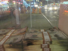 Narcos Bus Shelter Pile O Money AD 5219 (Brechtbug) Tags: narcos tv show bus stop shelter ad with piles slightly singed real fake money or is it 2016 nyc 09102016 midtown manhattan new york city 49th street 7th ave st avenue moola bogus