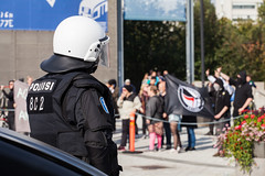 Nationalist Rally (Tuck Happiness) Tags: helsinki finland vuosaari mielenosoitus demonstration rally riot police protestors counterdemonstrator antifascist