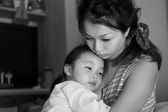 Mother's Love (tom120879) Tags: family taiwan taipei mom mother daughter children child black white bw portrait indoor light night penf