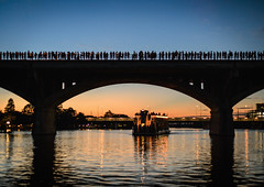 Waiting for the Bats (Geoff Livingston) Tags: bats bridge austin sunset street river reflection water travel atx weird tinypeople bigplaces