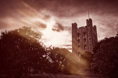 Penryhn Castle (Will_Williams) Tags: penryhn castle moody red autumn trees movement old dramatic sky clouds structure light lens flare bw copper