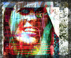 caged smile (psyco) (joei.laut) Tags: joeilaut oktober 2016 digitalart collage psychedelic colorfull smile woman girl