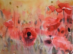 Attention winner (katekos) Tags: poppies maki poppy red flowers floral floralwatercolor katekos watercolor watercolour meadow painting loose