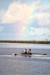 Womens UCLA Rowing Team with a Rainbow (SteveWillard) Tags: california seascape canon la boat losangeles teams mac zoom shell pacificocean telephoto socal varsity cox rowing southerncalifornia sweep marinadelrey zoomlens novice sculling cyc losangelescounty feathering bowseat reggatta canonef24105mm healthebay telephotozoom 60d canon60d californiayachtclub headofthemarina 90292 stevewillard catchingacrab marinaaquaticcenter strokerate wayenough