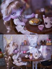 Happy Coffee Shop ! (Koala Krash) Tags: blue food cute rabbit bunny coffee japan ball dark mouse toys japanese miniatures la doll dolls tea vinyl des foodies koala kawaii bjd compagnie raclette krash jointed radis azone petworks dojy rements usagiee