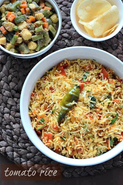 tomato rice recipe, south indian style tomato rice recipe