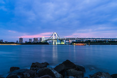 The Rainbow Bridge from Odaiba (JuanKar_M) Tags: travel viaje bridge water japan night puente bay noche rainbow agua odaiba japon tokio baha sonya7r