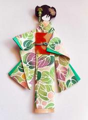 Japanese origami doll 1 (tengds) Tags: orange green leaves asian japanese purple kimono obi bindi papercraft japanesepaper washi ningyo chiyogami asiandoll yuzenwashi japanesepaperdoll indianbindi washidoll origamidoll kimonodoll nailartsticker tengds