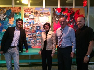 Adnan Jafarov with artist Erika King, Gerry Kelly and Cash McMahon at the Hotel Vintro for an exhibit of Erika's collages during art Basel
