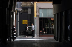 Conversation (ascension9studios) Tags: street city shadow public canon alley candid streetphotography melbourne victoria 7d vic laneway rue 거리 2014 メルボルン strase ストリート 멜버른