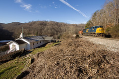 Stopped in Habersham (Peyton Gupton) Tags: railroad mountain mountains church train tennessee rail railway trains rails appalachian coal appalachia kd csx habersham csxt coalcountry kdsub csxtkdsub